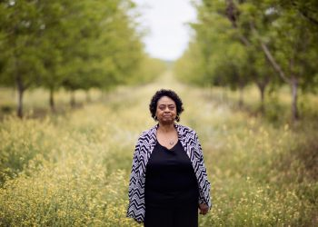 Southwest Georgia Project for Community Education Executive Director Shirley Sherrod stands in a pecan orchard at New Communities in Dougherty County, Georgia in May 2019. Photo by Mike Kane for Marguerite Casey Foundation's Equal Voice News.