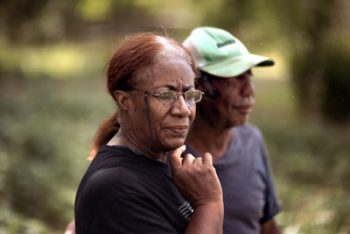 Erma Young-Wilburn and husband Lawton Wilburn farm land near Warwick, Georgia. Lawton's first wife inherited the land, which belonged to J.N. Battle, a Black farmer. Photo by Mike Kane for Marguerite Casey Foundation's Equal Voice News.