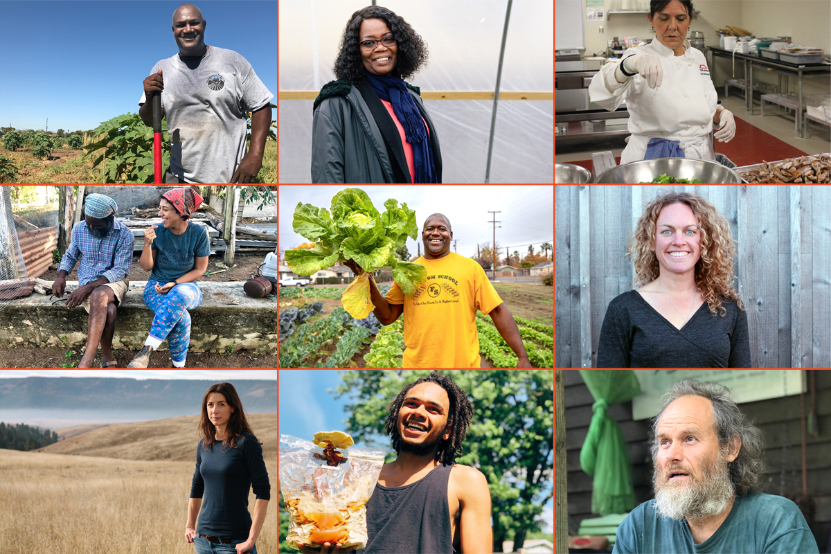 a collage of inspiring people in food