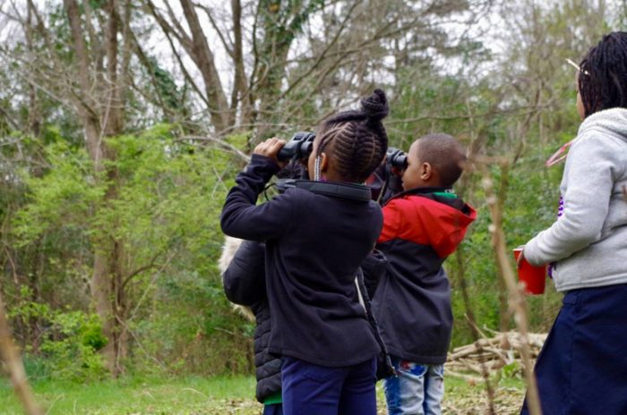 Birdwatching at the Atlanta Food Forest. (Photo courtesy of AgLanta)
