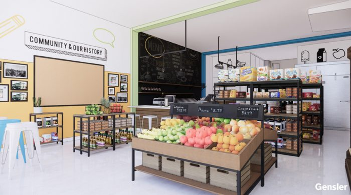 A rendering of the remodeled interior of Lupita's Market by Gensler, the project's designer.