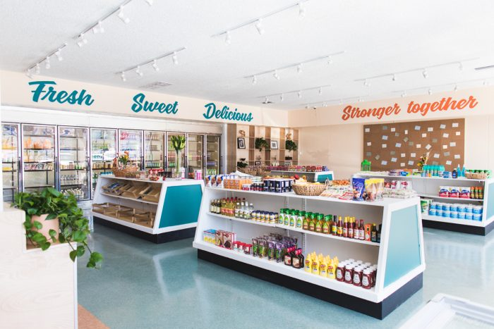 The remodeled interior of Hank's Mini Market.