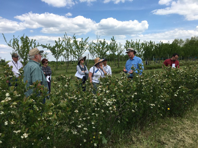 Jim Riddle during a 2018 tour for Extension agents. (Photo courtesy of Blue Fruit Farm)