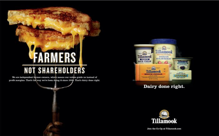 "One of Tillamook's ""Dairy Done Right"" ads."