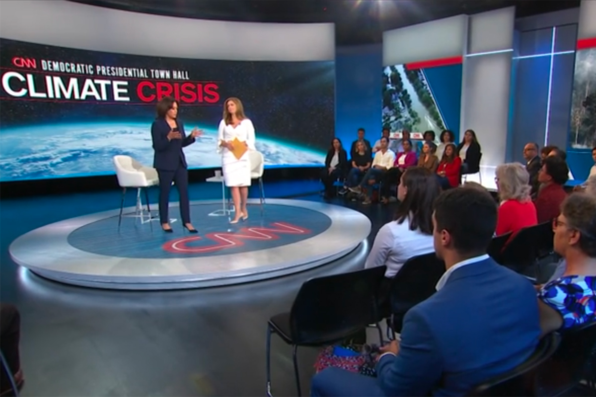 Kamala Harris Democratic climate town hall Screenshot from CNN.