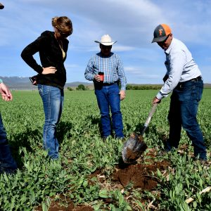 Farmers Kenneth and Sheri Jensen, and their daughter, Rose, were early adopters of the soil health movement in Eastern Oregon. (NRCS photo by Tracy Robillard)