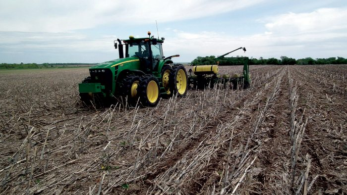Farmers like Erik Schlimmer, Volga, SD, are using conservation farming technologies, like a no-till cropping system, to improve his soil's health which also increases productivity and function of soil. (NRCS photo by Eric Barsness)