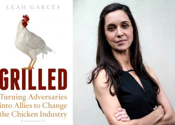 photo of leah garcés of mercy for animals and the cover of grilled her new book on animal welfare and factory farms