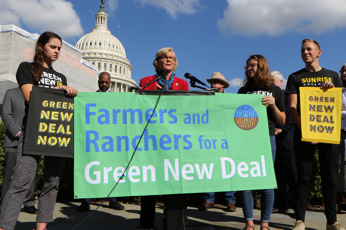 Representative Chellie Pingree speaks at the Farmers and Ranchers for a Green New Deal press conference. (Photo courtesy of Rep. Pingree's office)
