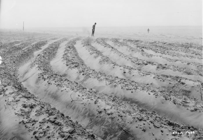 The deep plowing of native grasslands for cropland conversion, destroyed the soil's ecosystem and set the stage for the Dust Bowl. Photo courtesy USDA Soil Conservation Service.