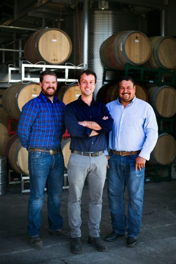 Matt Dees (center), with assistant winemaker Drew Pickering (left) and vineyard manager Ruben Solorzano (right). Photo courtesy of Jonata.