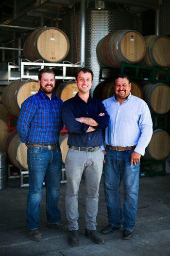 Matt Dees (center), with assistant winemaker Drew Pickering (left) and vineyard manager Ruben Solorzano (right). Photo courtesy of Jonata.