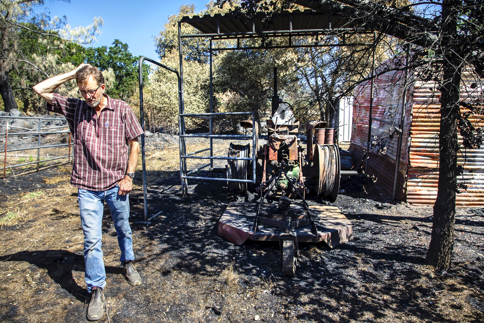 Kaisel's vintage John Deere tractor was destroyed in the fire. He has since replaced it.