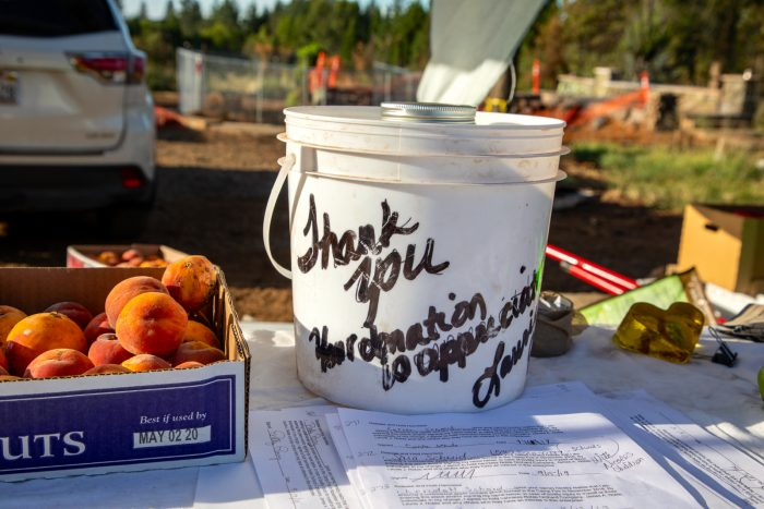 Jim and Laurie Noble have opened their orchard for free u-pick on weekends, but donations are accepted.