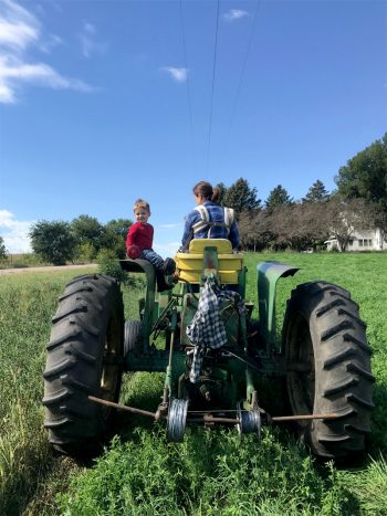 Johnathan Hladik's family working on the farm. (Photo courtesy of Johnathan Hladik)