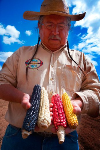 Clayton Brascoupé holds several ears of indigenous corn. (Photo courtesy of SEED: The Untold Story / Collective Eye Films)