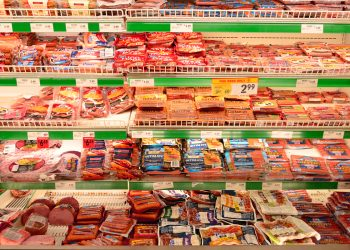 a row of meat products in a supermarket (CC-licensed by Raysonho on Wikimedia Commons.)