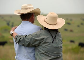 Ranchers Emery Birdwell and Deborah Clark on the Birdwell Clark Ranch in Texas. (Photo credit: USDA NRCS)