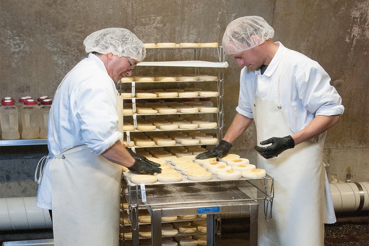 Making Willoughby cheese at The Cellars at Jasper Hill in Greensboro, Vermont. (USDA photo by Bob Nichols)