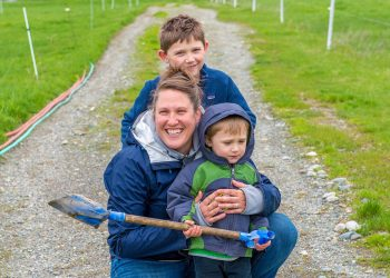 Farmer Abbie Corse and her two sons. Photo by Amy Overstreet.