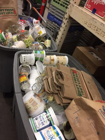 The Good Food Store's container reuse program for its bulk section.