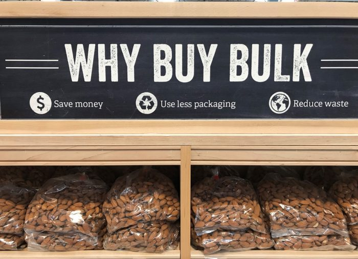 Sprouts' mixed-messaging on bulk almonds.