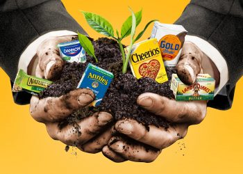 regenerative agriculture photo - a businessman holding soil and packaged foods from big food companies