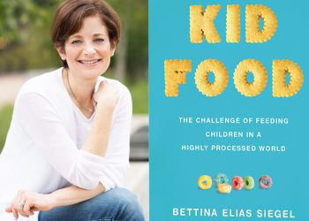 bettina elias siegel and the cover of her book kid food