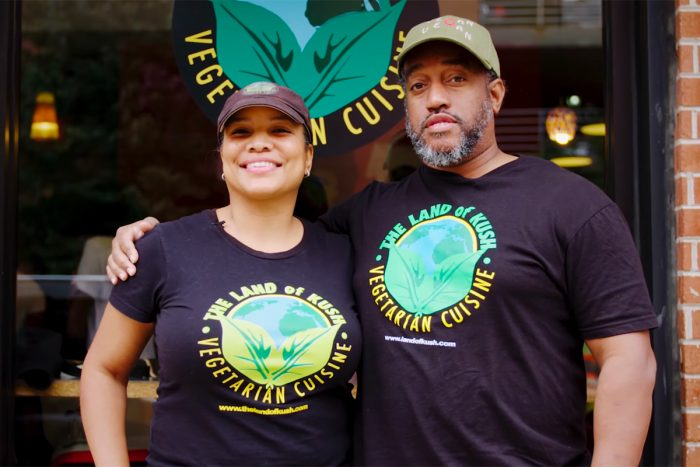 Naijha Wright Brown and Gregory Brown of Baltimore Black vegan restaurant The Land of Kush. (Photo courtesy of The Land of Kush)
