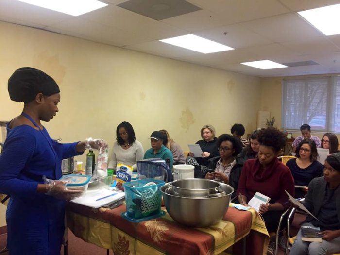 Chef Crystal Forman teaching a meal-prep class. (Photo courtesy of Crystal Forman)