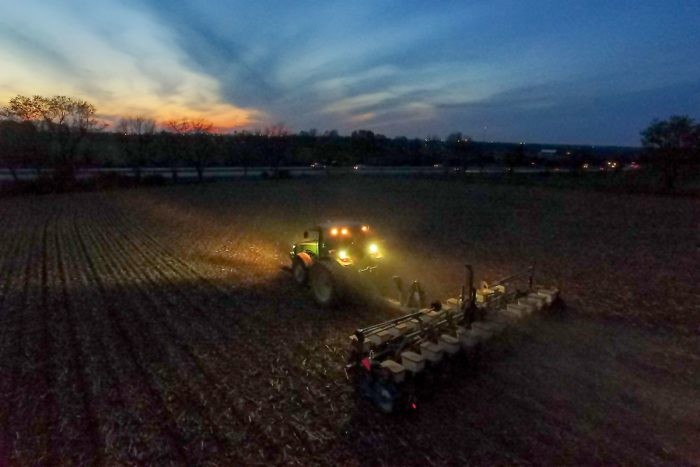 Precision Agriculture technology with GPS allows farmers to plant corn at night. (Photo by the University of Kentucky College of Agriculture)