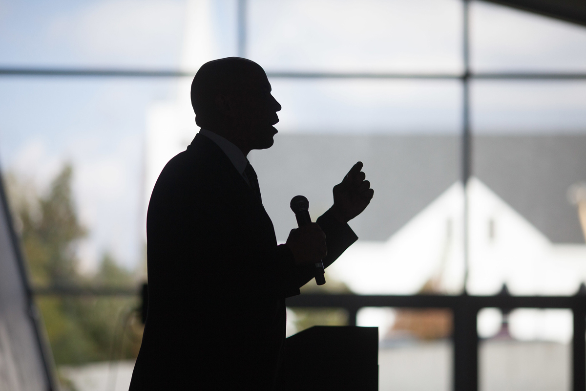 Cory Booker in silhouette. Photo CC-licensed by Sean Davis
