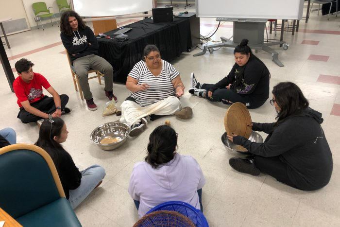 Meyo Marrufo, a Pomo Miwok tribal member, leads a workshop on traditional acorn preparation.