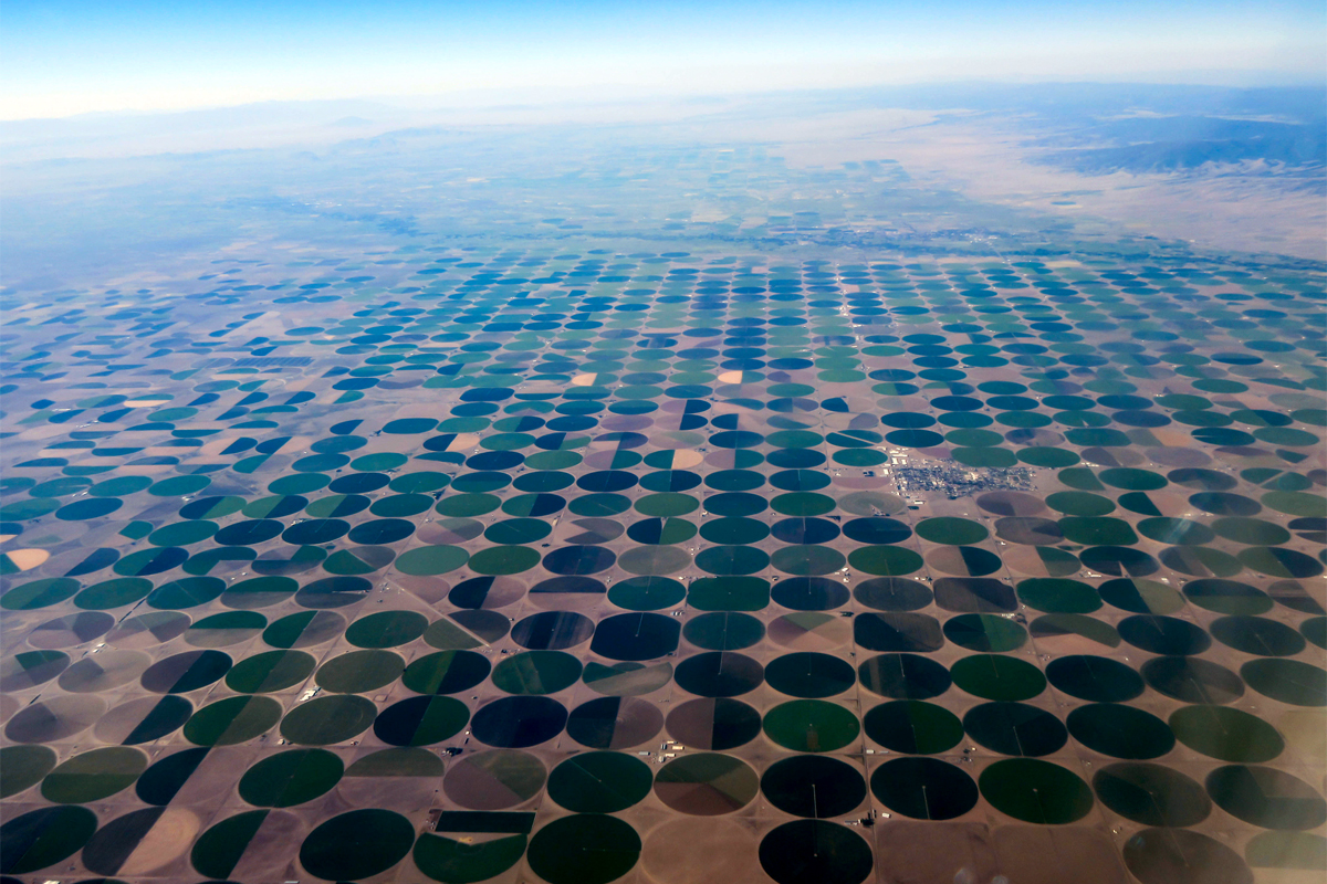 aerial view of center pivot irrigation in New Mexico