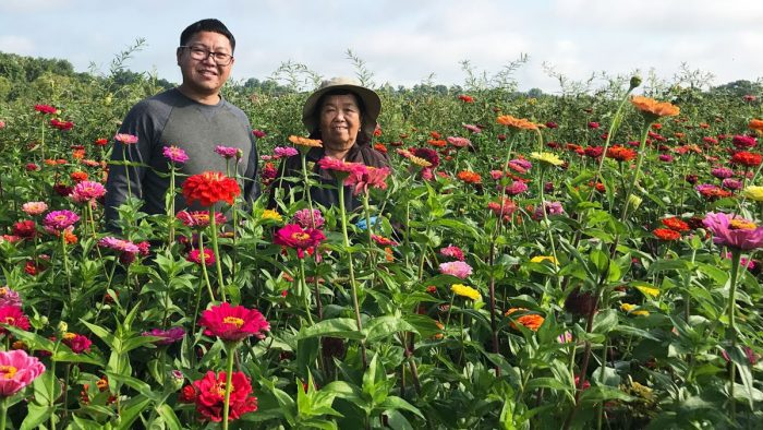 HAFA co-founder Janseen Hang (left) and flower farmer Mee Hang at Mee Hang's Minneapolis flower farm. (Photo courtesy of HAFA)