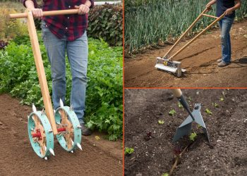 Clockwise from left: Some tools for open-source farming, including a double-rolling dibbler, a tilther, and a zipper. (Photos courtesy of Johnny's Selected Seeds)