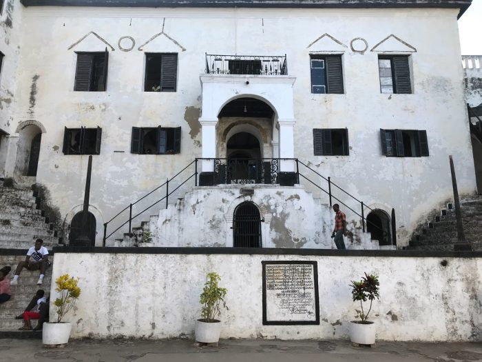 Elmina Castle, which was constructed by the Portugese in 1482