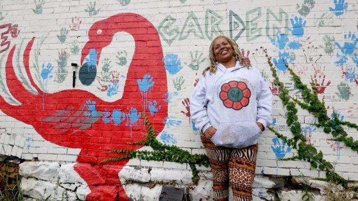 Ayanna Jones at the Sankofa Village Community Garden