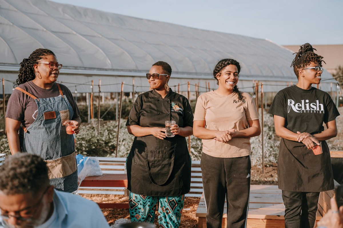 From left: Ederique Goudia of Gabriel Hall, Reniel Billups , Brittiany Peeler of Experience Relish, and Le'Genevieve Squires of Experience Relish. (Photo © Val Waller.)