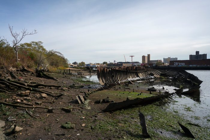 For years, Coney Island Creek has been like this: home to the rotting hulls of ships and a dumping ground for discarded tires, rusting shopping carts, and the like.