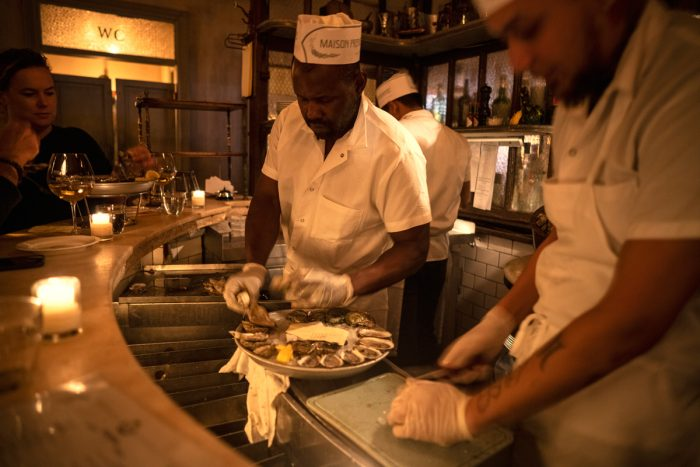 Maison Premiere oyster bar in Williamsburg, Brooklyn donates its leftover oyster shells to the Billion Oyster Project to support the reef.