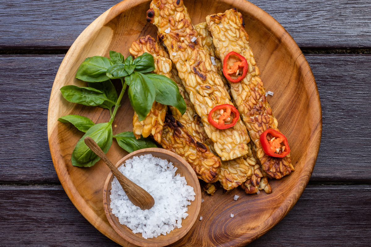 A plate of tempeh and other vegetables. Photo courtesy of Better Nature.