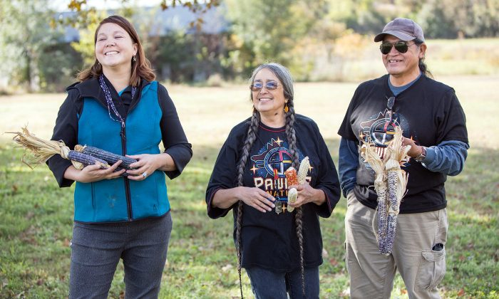 Left to right, Electa Hare-RedCorn, Deb Echo-Hawk, and Sonny Howell. Hare-RedCorn and Howell were the first interns for the Pawnee Seed Preservation Project, both recruited by Echo-Hawk, who traveled to Nebraska from Oklahoma to reconnect Pawnee seed with Pawnee people. Photo by Robert Wood Johnson Foundation.
