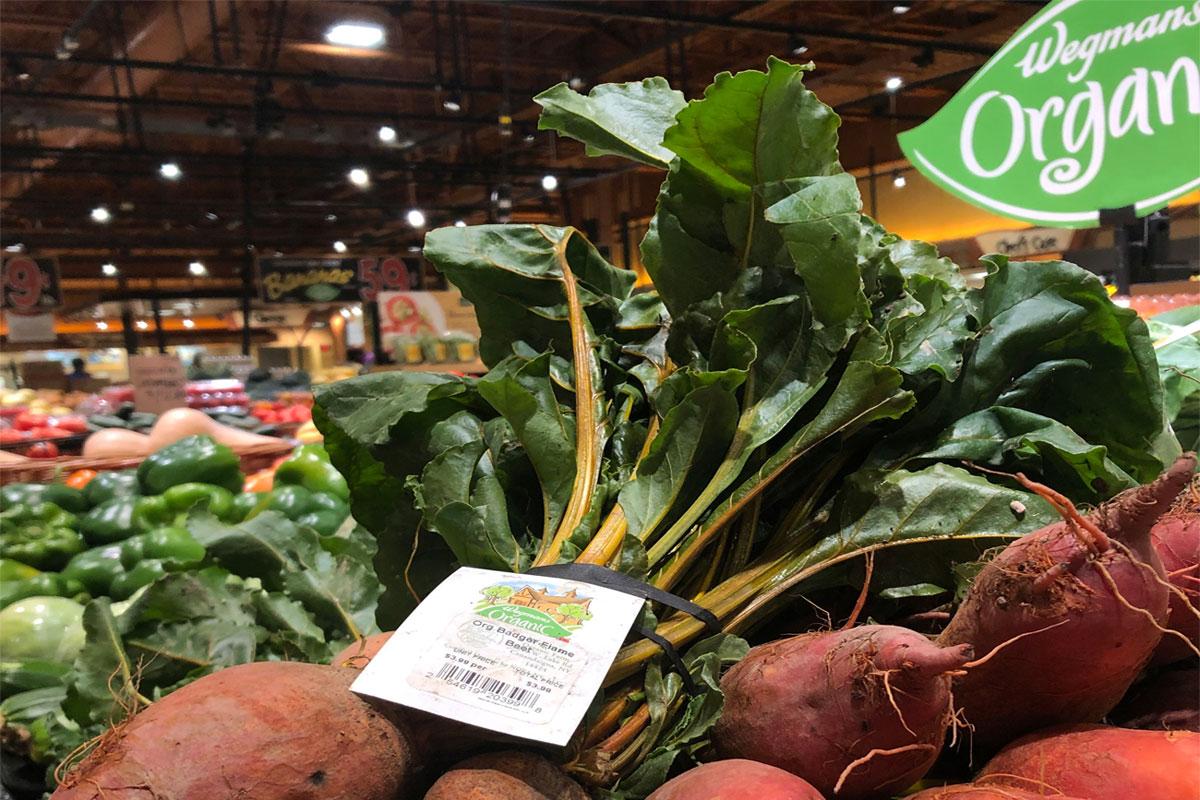 Row 7 Seed Company beets on display at Wegmans. Photo courtesy of Wegmans.