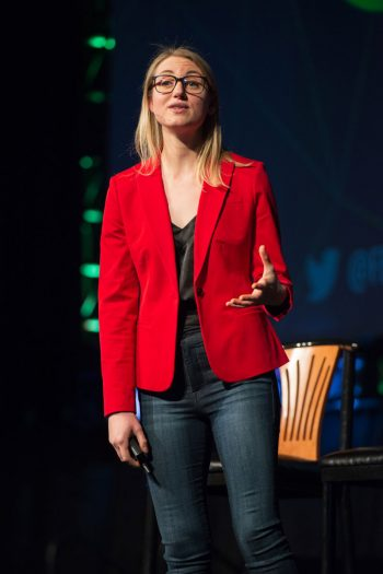 Madeline Buxton of YouTube speaks at the Farmer2Farmer Conference. (Photo courtesy of YouTube)