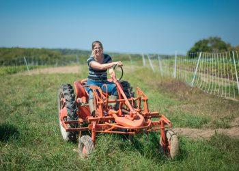 Kate Edwards on her Wild Woods Farm in Johnson County, Iowa. (USDA photo by Preston Keres)