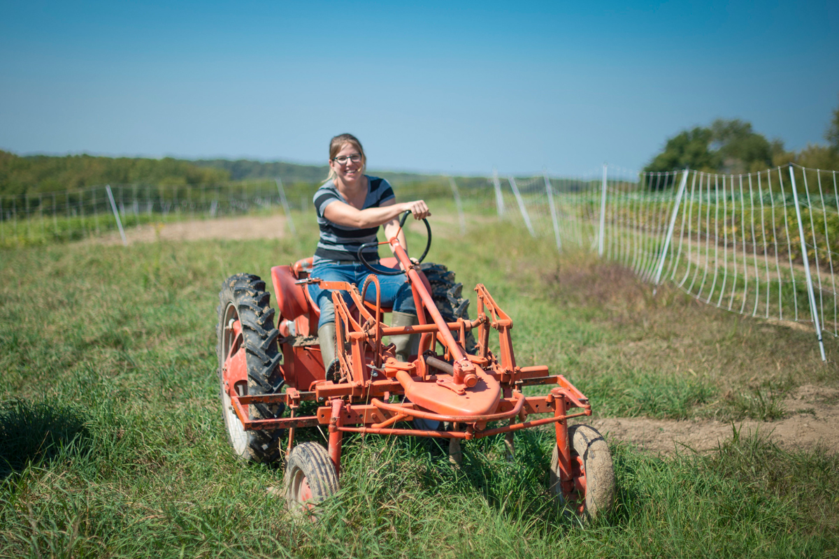 Kate Edwards on her Wild Woods Farm in Johnson County, Iowa. (USDA photo by Preston Keres)