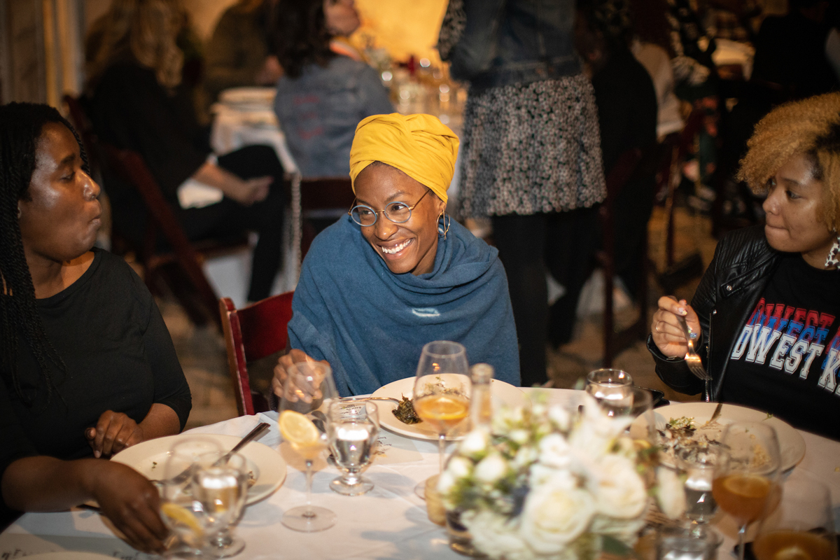 Black women eating a fine meal at Resistance Served