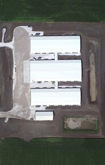 A Google Earth view of the Upland Sow Farm.