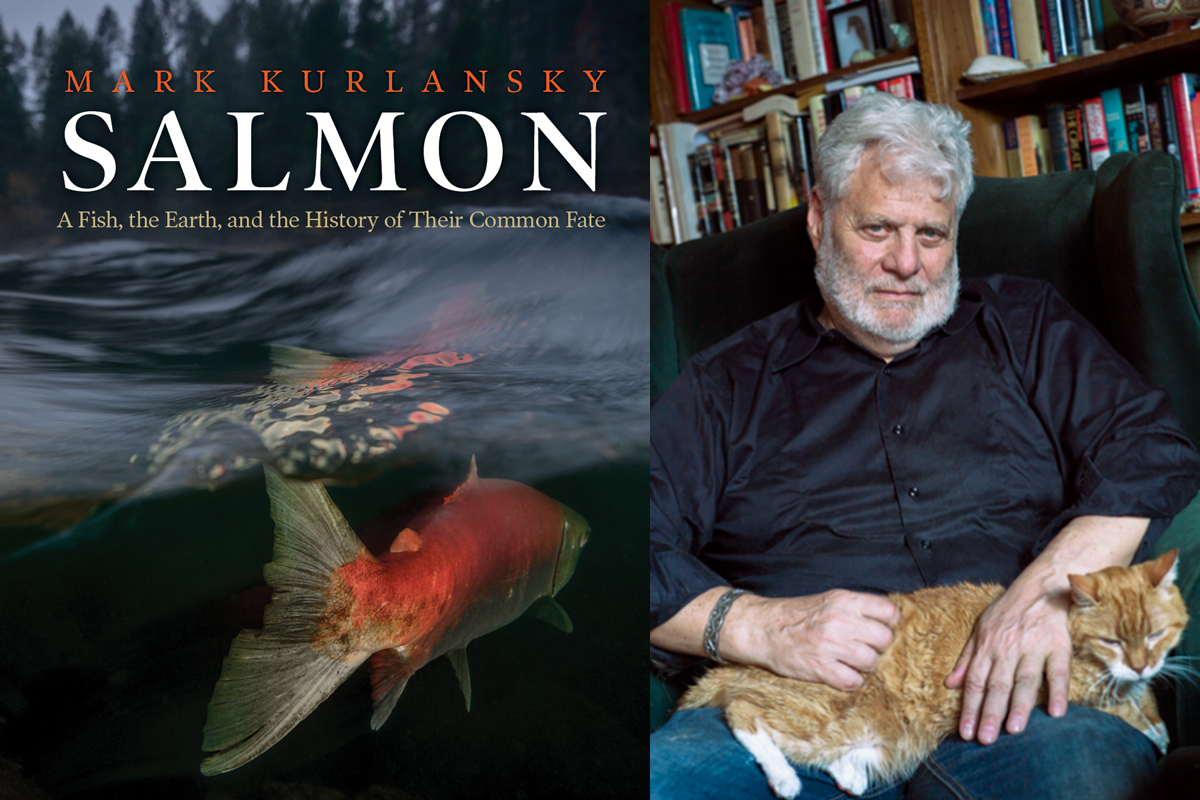 book cover of mark kurlansky's salmon, plus author photo by Sylvia Plachy